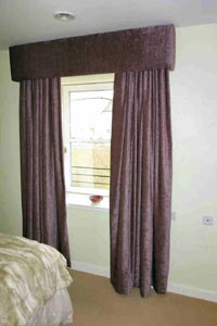 Chenille Curtains with padded pelmet